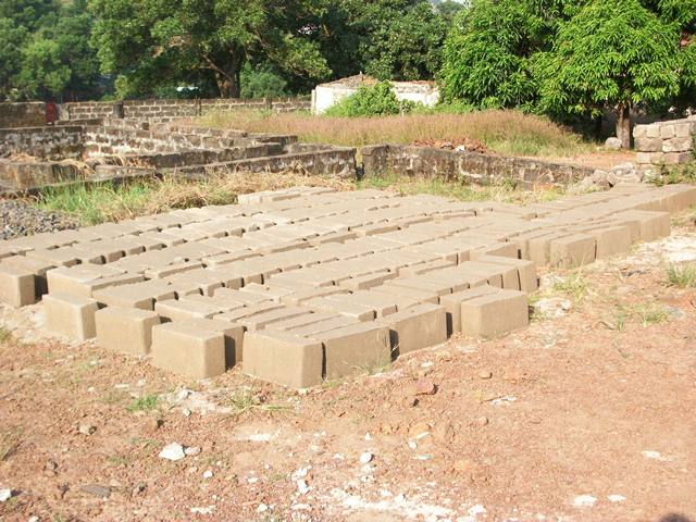 Blocks being molded for the school building